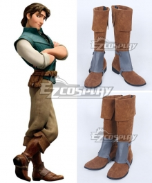 Disney Tangled Flynn Rider Brown Shoes Cosplay Boots