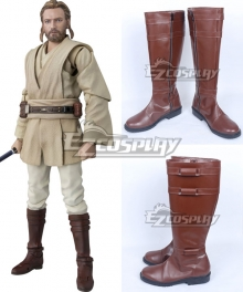 Star Wars Obi Wan Kenobi Brown Shoes Cosplay Boots