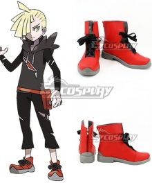 Pokemon Sun and Moon Team Skull Gladion Red Shoes Cosplay Boots