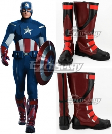 Marvel Avengers Age of Ultron Captain America Steven Steve Rogers Black Shoes Cosplay Boots