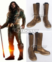 DC Justice League Movie Aquaman Arthur Curry Golden Grown Shoes Cosplay Boots