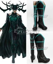 Marvel Thor 3 Ragnarok Trailer Hela Black Shoes Cosplay Boots - B Edition