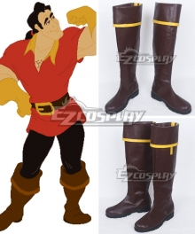 Disney Beauty and The Beast Gaston Brown Shoes Cosplay Boots