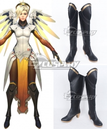 Overwatch OW Mercy Angela Ziegler Black Shoes Cosplay Boots