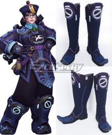 Overwatch OW Halloween Terror Mei Ling Zhou 2017 Blue Shoes Cosplay Boots