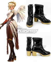 Overwatch OW Mercy Angela Ziegler Black Short Shoes Cosplay Boots