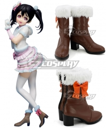 Love Live Nico Yazawa Snow Halation Brown Shoes Cosplay Boots