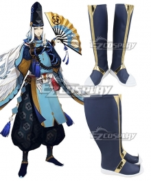Onmyoji Abe no Seimei Blue Golden Shoes Cosplay Boots