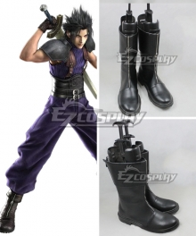 Crisis Core:Final Fantasy VII Zack Fair Black Shoes Cosplay Boots