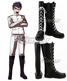 Danganronpa Dangan Ronpa Kiyotaka Ishimaru Black Shoes Cosplay Boots