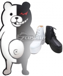 Danganronpa Dangan Ronpa Monokuma Female Black White Shoes Cosplay Boots