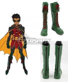 DC Batman Damian Wayne Robin Blue Shoes Cosplay Boots