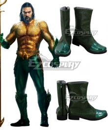 DC Comics 2018 Movie Aquaman Arthur Curry Green Shoes Cosplay Boots