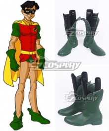 DC Comics Batman Robin Dick Grayson Green Shoes Cosplay Boots - A Edition