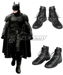 DC The Batman 2021  Bruce Wayne Robert Pattinson Black Cosplay Shoes