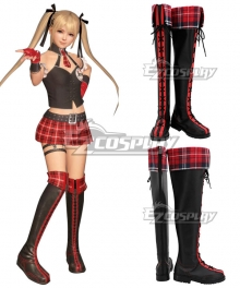 Dead Or Alive 6 Marie Rose Black Red Shoes Cosplay Boots