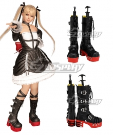 Dead Or Alive Marie Rose Black Red Shoes Cosplay Boots