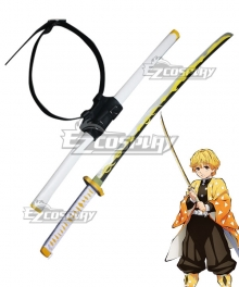 Demon Slayer Kimetsu No Yaiba Agatsuma Zenitsu Sword Cosplay Weapon Prop - Including Sword Strap