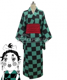 Demon Slayer: Kimetsu No Yaiba Kamado Tanjirou Green Kimono Cosplay Costume