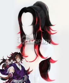 Demon Slayer: Kimetsu no Yaiba Michikatsu Tsugikuni Kokushibo Black Red Cosplay Wig