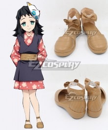 Demon Slayer: Kimetsu No Yaiba Makomo Yellow Brown Cosplay Shoes
