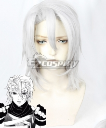 Demon Slayer: Kimetsu No Yaiba Tengen Uzui Long Sliver White Cosplay Wig
