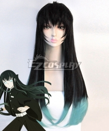 Demon Slayer: Kimetsu No Yaiba Tokitou Muichirou Muichiro Tokito Black Green Cosplay Wig