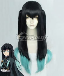 Demon Slayer: Kimetsu No Yaiba Tokitou Muichirou Muichiro Tokito Black Green Double Straight Cosplay Wig