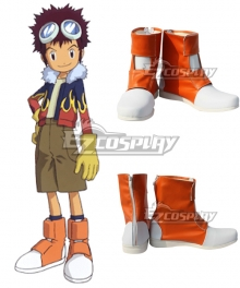 Digimon Adventure 2 Motomiya Daisuke Orange Cosplay Shoes