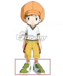 Digimon Frontier Tommy Himi Green White Cosplay Shoes