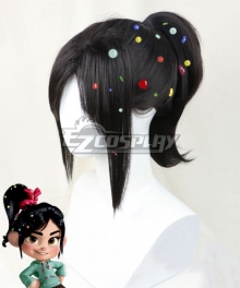 Disney Ralph Breaks The Internet: Wreck-It Ralph 2 Vanellope Von Schweetz Black Cosplay Wig