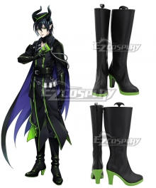 Disney Twisted Wonderland Malleus Draconia Black Green Shoes Cosplay Boots