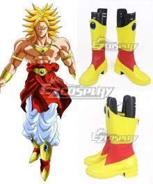 Dragon Ball Super Broly Yellow Red Shoes Cosplay Boots