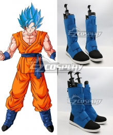 Dragon Ball Z Super Son Goku Blue Black Shoes Cosplay Boots