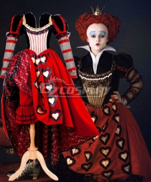 Alice in Wonderland Red Queen Dress Cosplay Costume