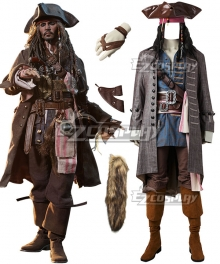 Pirates of the Caribbean: Dead Men Tell No Tales Captain Jack Sparrow Helloween Cosplay Costume - Including Wig and Not Boots