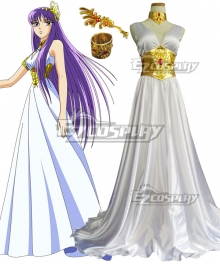 Saint Seiya Knights of the Zodiac Athena White Dress Cosplay Costume - B Edition