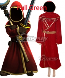 Magicka Wizard Wars Red Robe Full Green Cosplay Costume