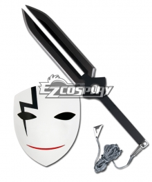 Darker Than Black Hei BK-201 Li Shenshun Smiley Cosplay Mask & Sword Weapon