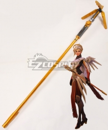 Overwatch OW Mercy Angela Ziegler Golden Caduceus Staff Staves Cosplay Weapon Prop