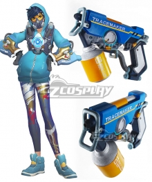 Overwatch OW Tracer Lena Oxton Graffiti Two Guns Cosplay Weapon Prop