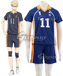 Haikyu!! Haikyuu!! Karasuno High School Kei Tsukishima Royal Blue Cosplay Costume