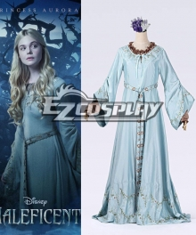 Maleficent Aurora Light Blue Cosplay Disney Dress Embroidery Girl Princess Dress