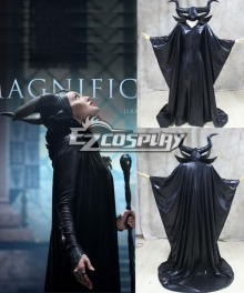Maleficent Disney Movie Black Witch Angelina Jolie Cosplay Costume+Horns Headpiece-Standard Ver.