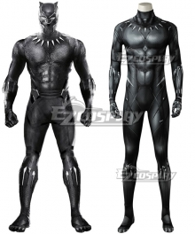 Marvel Black Panther 2018 Movie T'Challa Black Panther Printed Jumpsuit Cosplay Costume