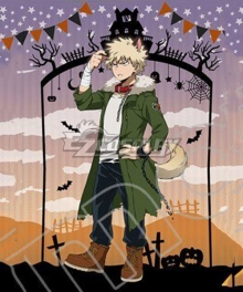 My Hero Academia Boku no Hero Akademia Katsuki Bakugou Halloween Cosplay Costume - No Coat badge