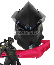 Overwatch OW Genji Black Helmet Cosplay Accessory Prop - Tactical Eyepiece Change in Red