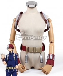 My Hero Academia Boku No Hero Akademia Shoto Todoroki Battle Suit Gauntlets Strap Belt Cosplay Costume