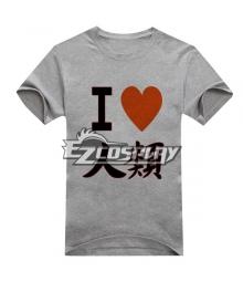 No Game No Life Anime Sora T-shirt Short Gray Sleeve Cosplay Costume