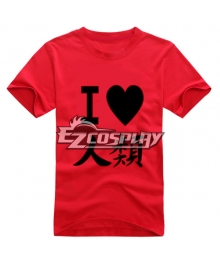 No Game No Life Anime Sora T-shirt Short Red Sleeve Cosplay Costume
